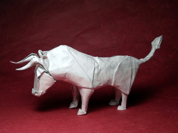 An origami bull made with wet-folding technique