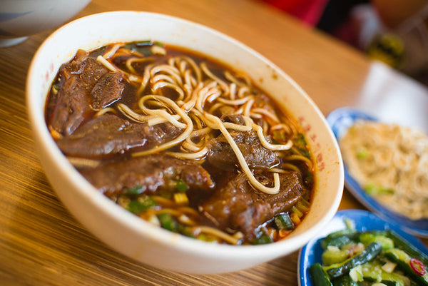 Bowl of delicious beef noodle soup in Taiwan