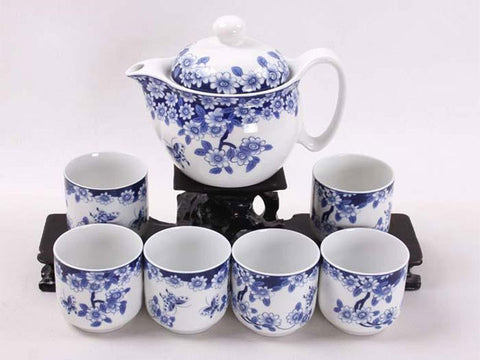 Blue and white tea set with blossom design