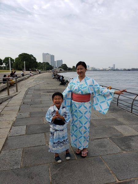 Joanne Kwong and her son Griffin, both in yukata