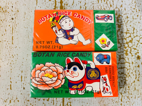 Boxes of Botan rice candy