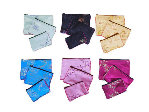 Colorful brocade jewelry bags
