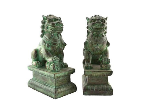 Pair of dark green fu dogs