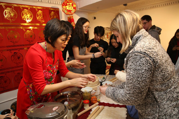 Christine Wong leading dumpling-making demo at Pearl River Mart