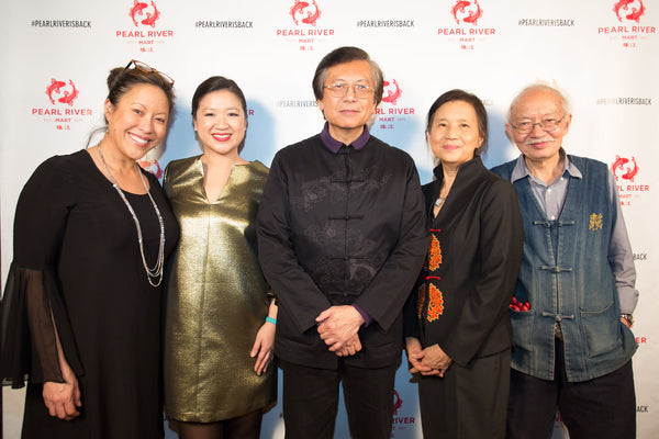Corky Lee with the Chens, Joanne Kwong, and Cindy Hsu at his exhibition opening