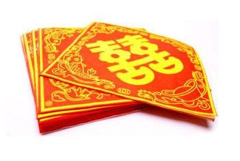 Red and gold double happiness napkins
