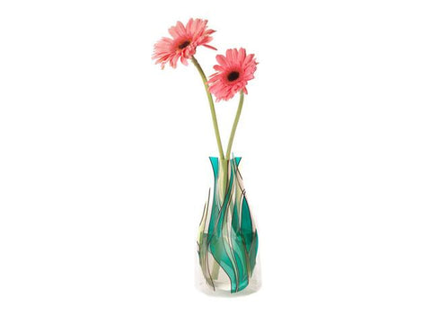 Reusable teal and clear vase with pink flowers
