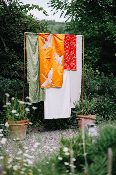 Colorful fabrics draped for an outdoor photographable moment