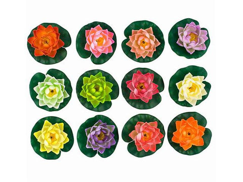 Array of colorful lotus candles