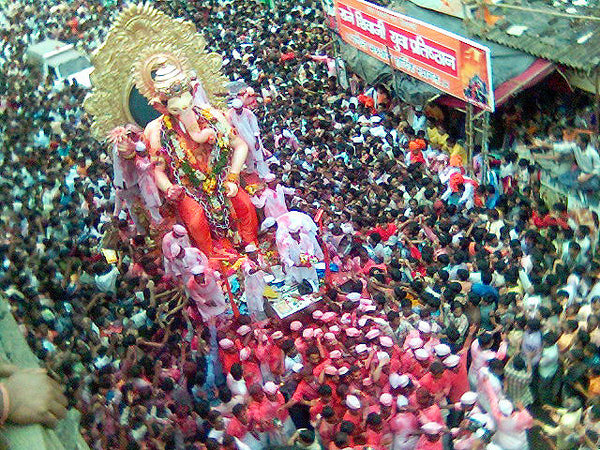 A procession during a festival honoring Ganesha