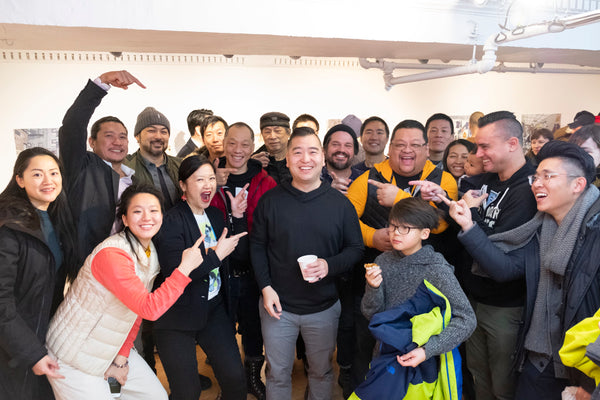 Fun group photo at Jerry Ma's opening reception for his art show at Pearl River Mart