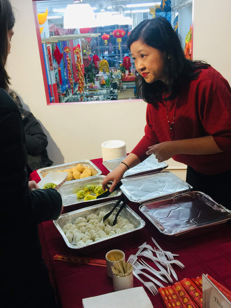 Joanne Kwong serving Jing Fong dim sum to guests