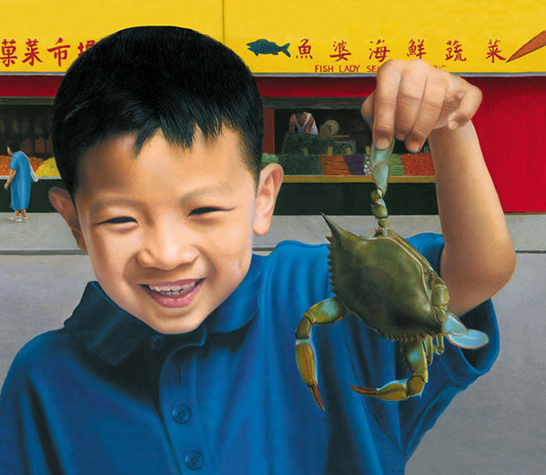 Painting of boy holding a crab