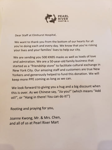 Letter from Pearl River Mart
