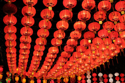 A gorgeous display of many red lanterns
