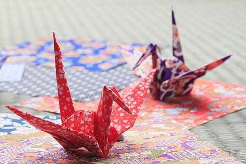 Two beautiful origami cranes