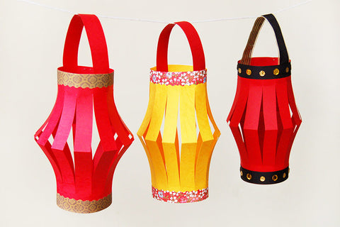 Handmade red and yellow paper lanterns