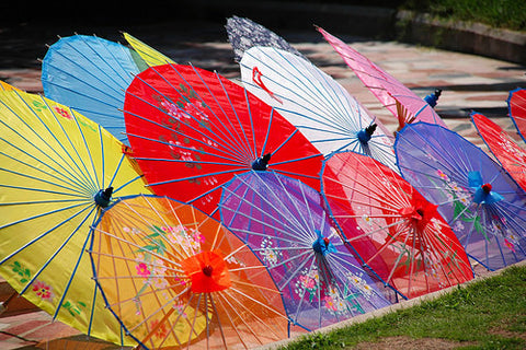 Display of lovely colorful parasols