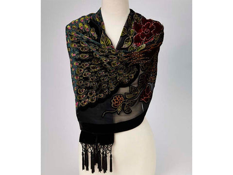 Gorgeous black shawl with iridescent peacock design