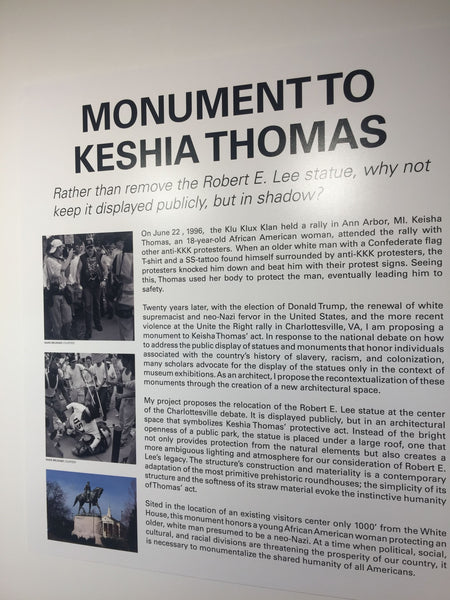 Explanatory board of Monument to Keshia Thomas