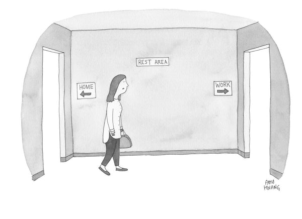 Cartoon of a working mom going back and forth between a rest area and work