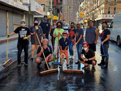 Chinatown street sweeping volunteers