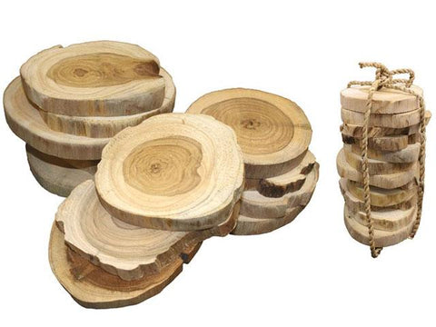 Set of teak coasters