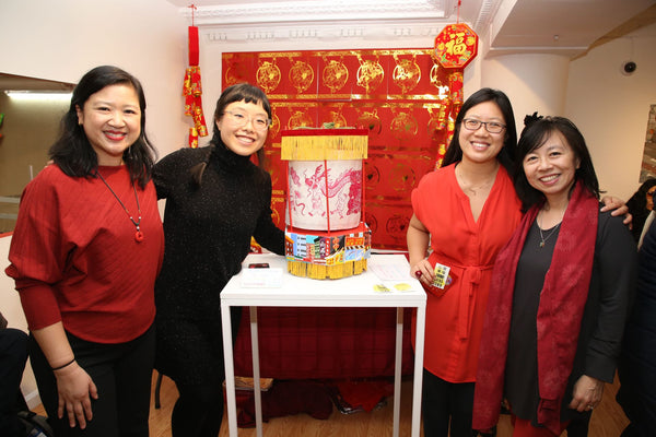 Pearl River president Joanne Kwong, artist Yao Xiao, Think Chinatown founders Yin Kong and Amy Chin with Yao's handpainted lantern