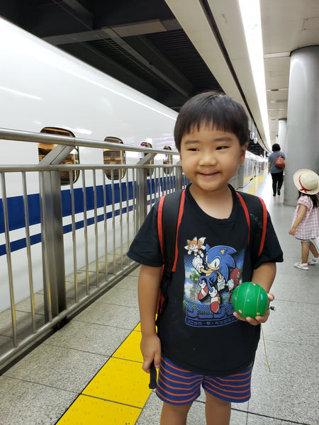 A boy excited about getting on the bullet train