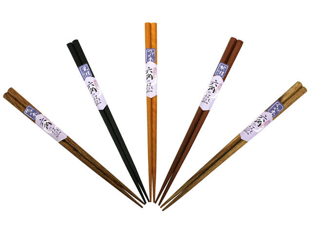 Hexagon Design Wooden Chopsticks Set (5 pairs)