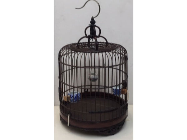 Dark Tone Bamboo Bird Cage - Carved Bottom