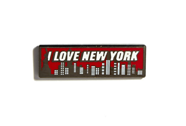 Red, white, and gray I Love New York Pin with buildings