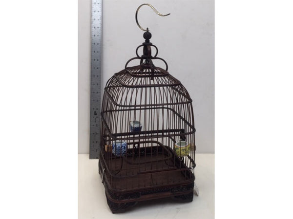 Dark Tone Bamboo Bird Cage - Sq Base/Pointy Top