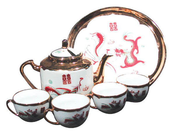 Golden Dragon Phoenix Tea Set