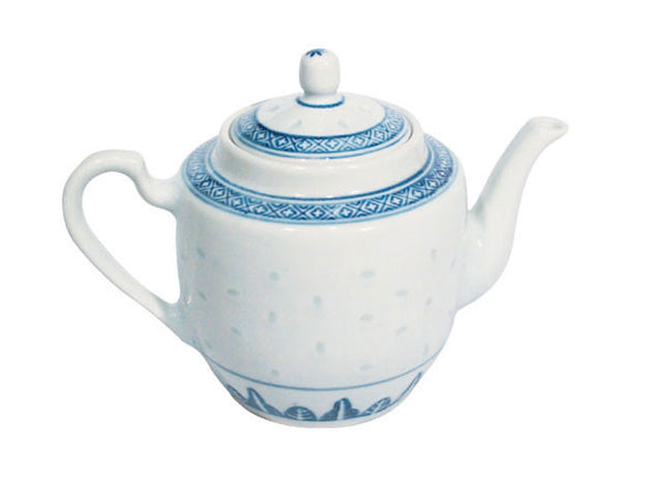 Classic Blue Rice Pattern Teapot