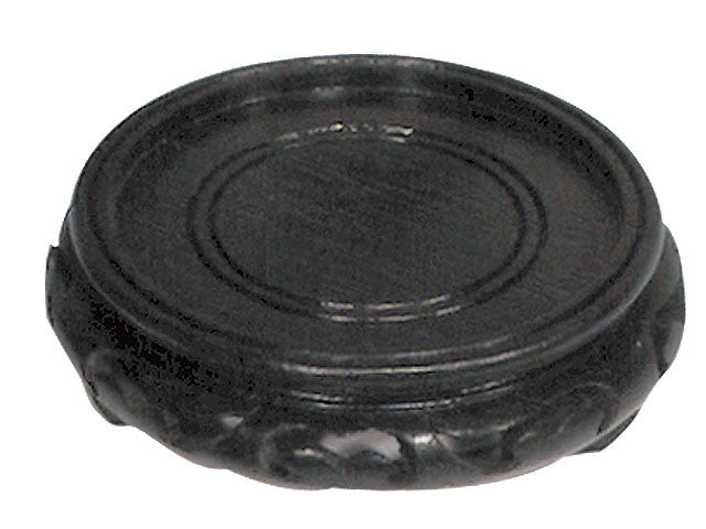 Carved Design Wooden Vase Stand - Round