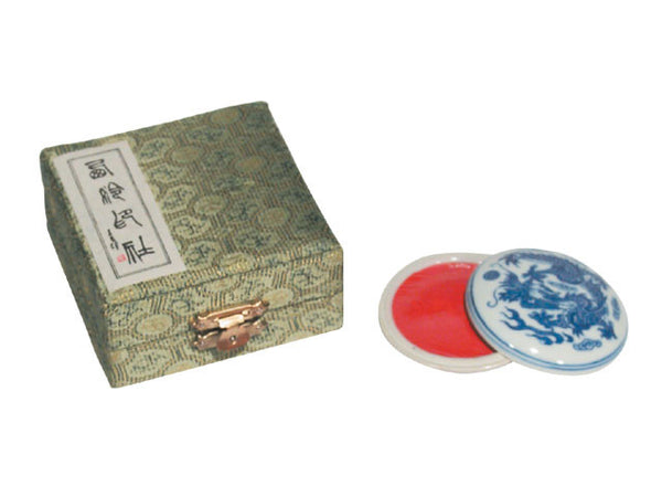 Red Ink Paste in Ceramic Holder / Brocade Box