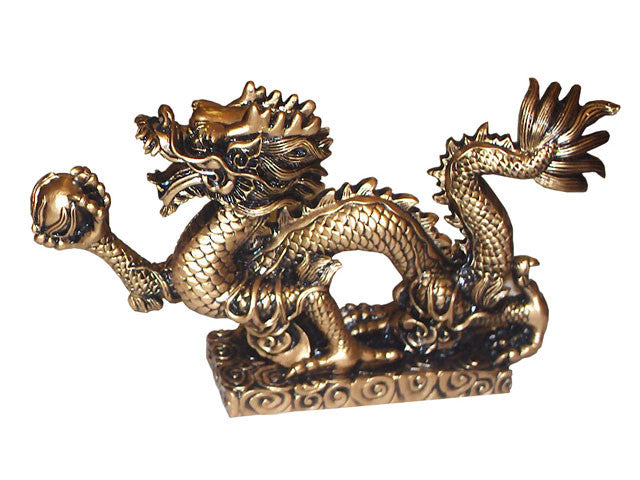 Dragon with Pearl Statue (M) - 9 in. (L)