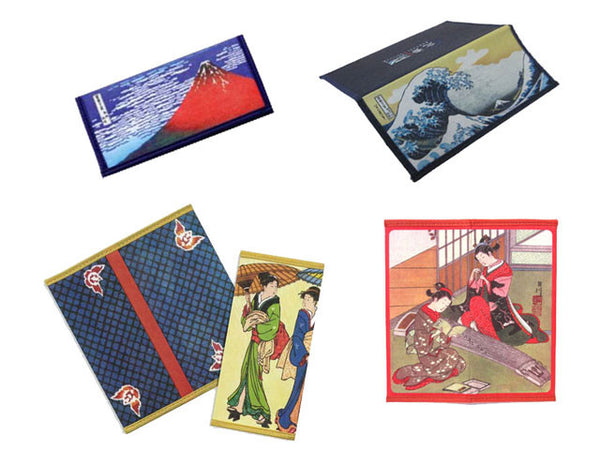 Rice wallets with various Japanese designs (Mount Fuji, the Great Wave, traditional Japanese ladies)