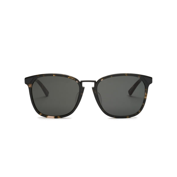 Front view of sunglasses with Brown/Black Tortoise Frame and Solid Black Lens