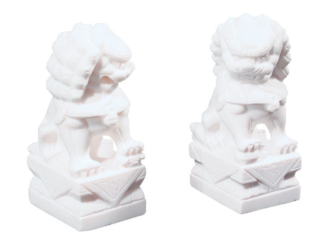 White Marble Foo Lion Statue (Pair)