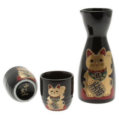 Gold Beckoning Cat Design Sake Set - Black