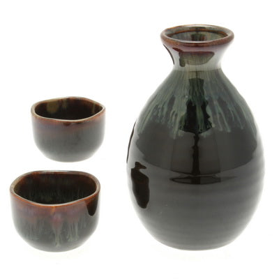 Pacific Kelp Forest Design Sake Set - Black