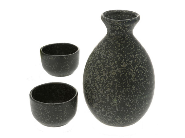 IBUSHI TENMOKU Speckle Black Design Sake Set