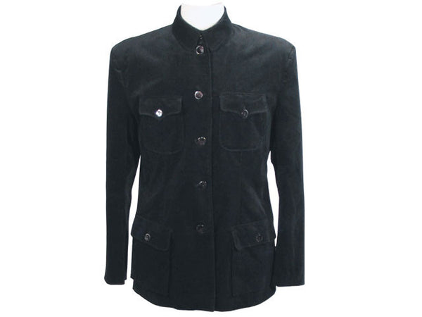 Mao Jacket - Black Velveteen