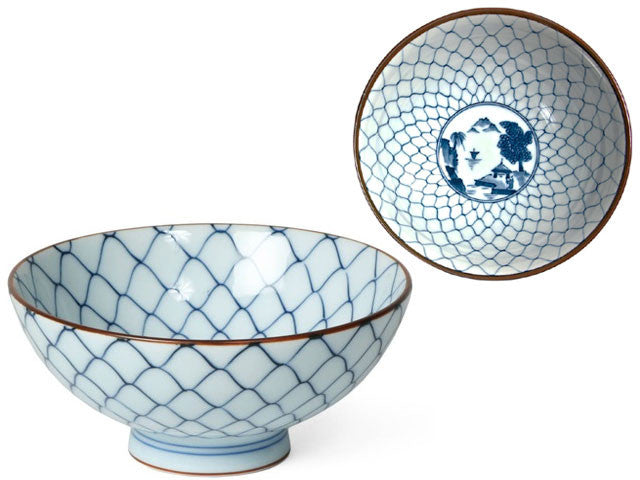 Blue and White Design Rice Bowl - 4.5 inch