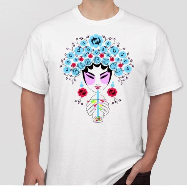 Front of limited edition Bubble_T x Pearl River WorldPride T-shirt with Chinese opera and bubble tea art