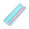 Pink chopsticks in teal traveling case