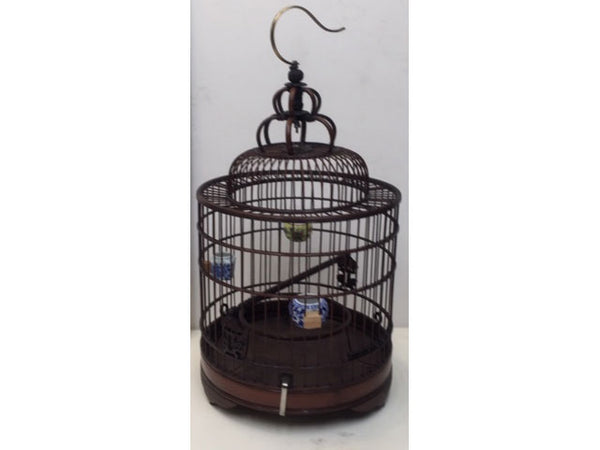 Dark Tone Bamboo Bird Cage - Cylinder Dome Top