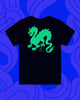 Back of black T-shirt with green dragon design